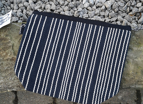 Large Pouch - Black with White Stripes