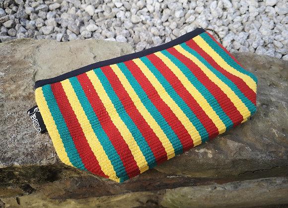 Medium Pouch - Red, Yellow & Green Stripe