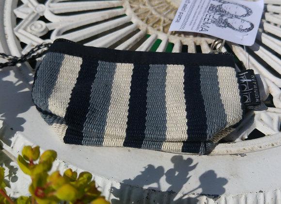 Mini Purse - Black, Grey and White Stripes