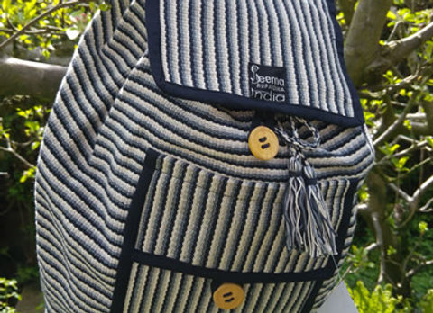 Sumitra Back Pack - Grey Stripe