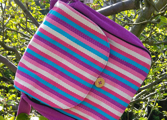 Rachel Shoulder Bag - Pink/Purple Stripes