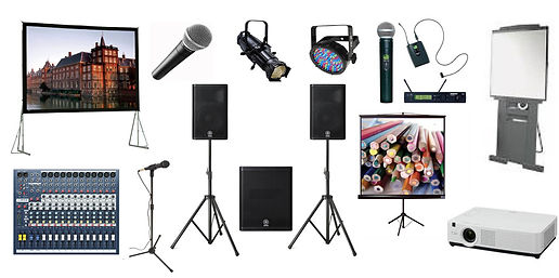 Projector, speaker, microphone, and presentation rental products.