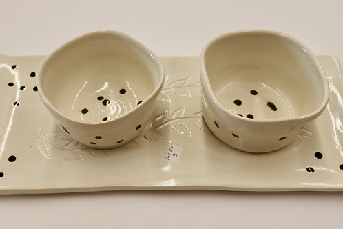 Platter White With 2 Bowls by Dixie Borza