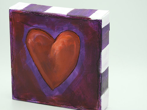 Red Heart on Purple 128.7 by Kathy Holmes