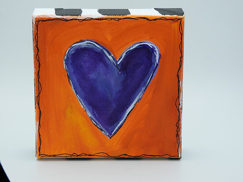 Blue Heart with Orange 128.1 by Kathy Holmes