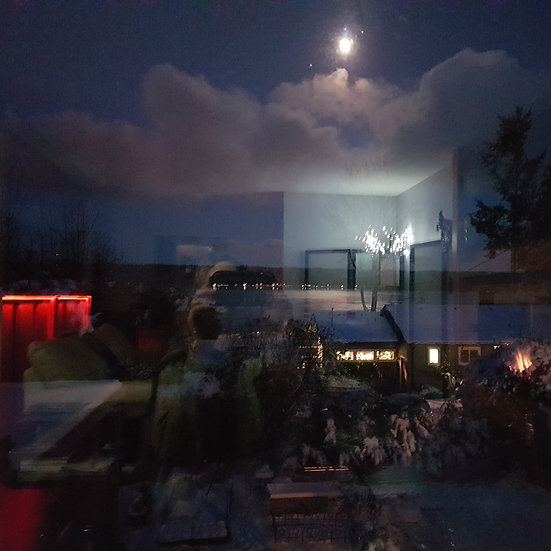 Wolf Moon Howling over Quadra by Evelyn M