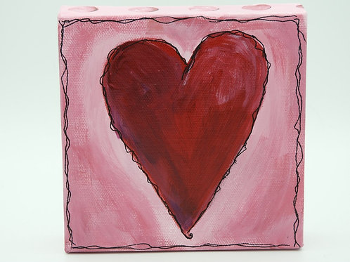 Red Heart with Pink 128.5 by Kathy Holmes