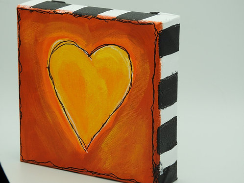 Yellow Heart with Orange 128.2 by Kathy Holmes