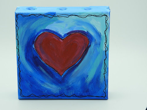 Red Heart on Blue 128.6 by Kathy Holmes