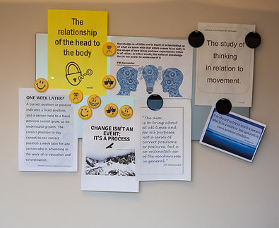 Student tips on the noticeboard in thAlexander Technique teaching studio