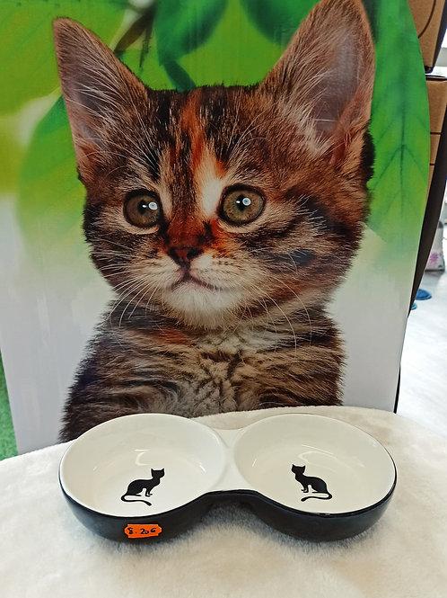 Gamelle double céramique motif chat 2x145ml