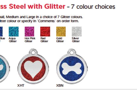 Médaille chien ou chat avec paillettes - 7 couleurs au choix