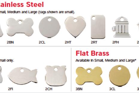 Médaille chien ou chat plates en acier ou laiton