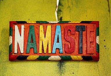 Colorful sign NAMASTE – the Sanskrit sal