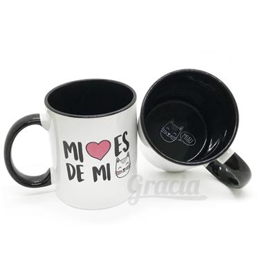 "Mug negro ""Mi corazón es de mi gato"""