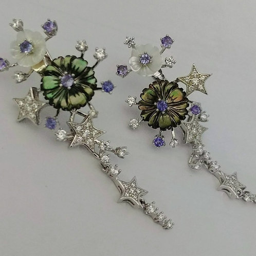 Artisan Tanzanite Floral Sterling Earrings