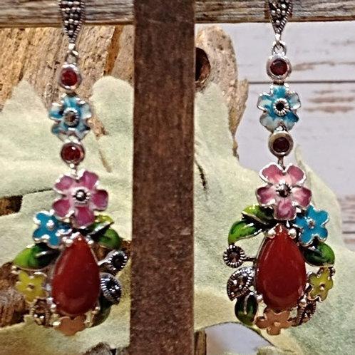 Honey Onyx Floral Earrings