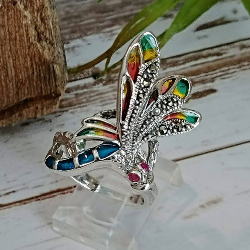 Sterling & Marcasite Dragonfly Ring