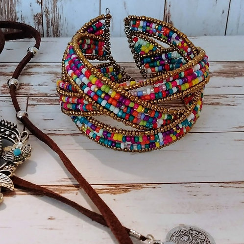 Colorful Beaded Boho Cuff Bracelet