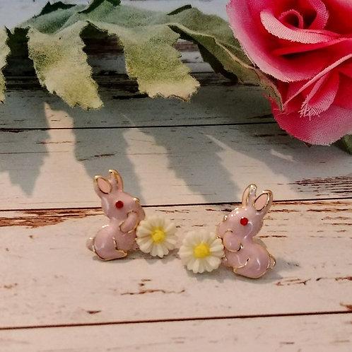 Pink Enamel Bunny Earrings