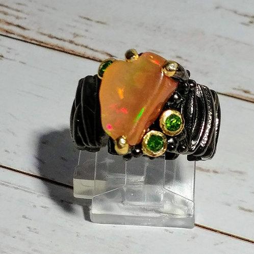 Fire Opal Artisan Ring
