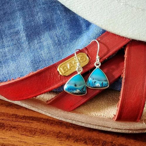 Marine Dendritic Opal Earrings