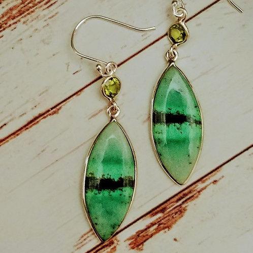 South African TransVaal Jade & Peridot Earrings