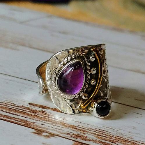 2 Tone Artisan Amethyst Ring