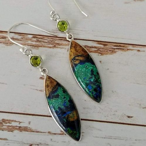 Artisan Boulder Azurite & Peridot Earrings