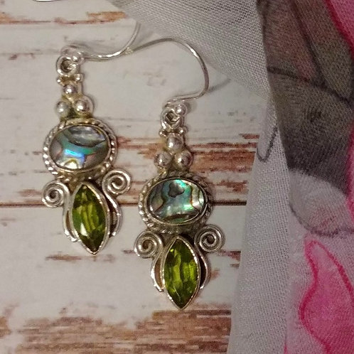 Abalone Shell & Peridot Earrings