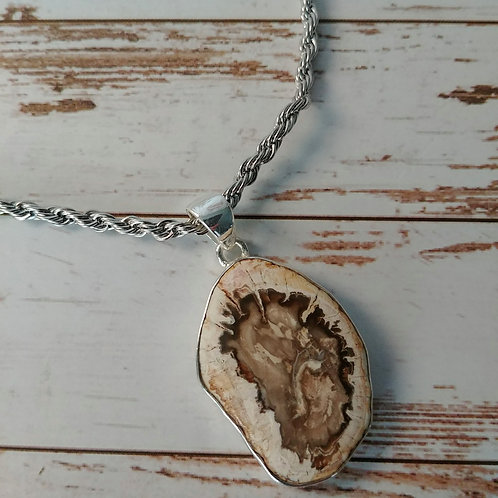 Rare Blue Forest Petrified Wood Pendent