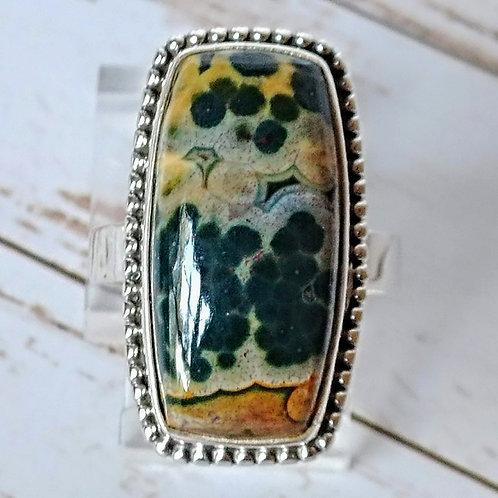 Rare Ocean Jasper Sterling Ring