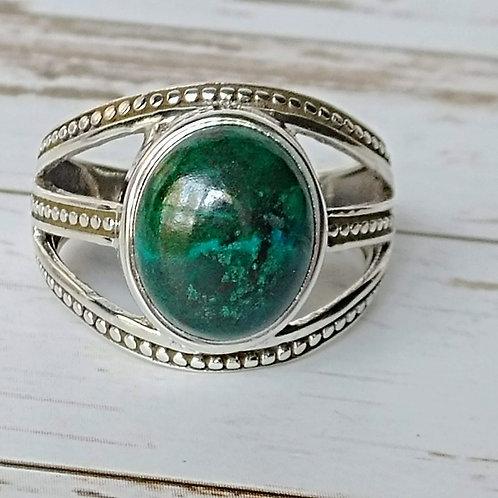 Green Chrysocolla Sterling Ring