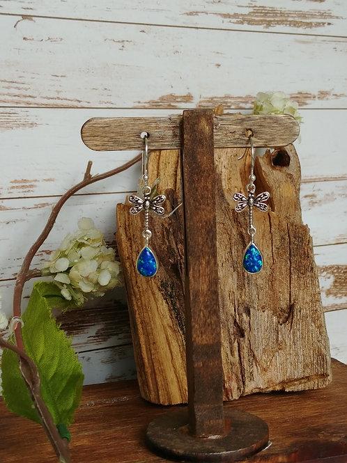 Sterling Silver Opal Dragonfly Earrings