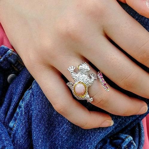 Pink Opal & Tourmaline Gecko Ring