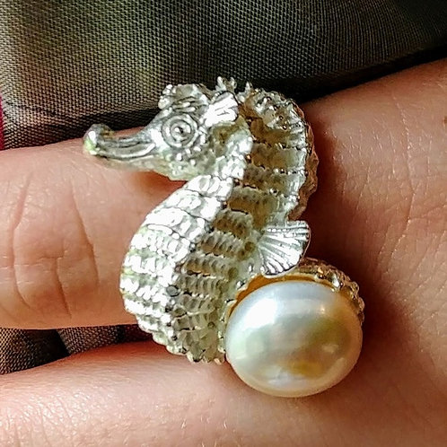 Sterling Seahorse & Pearl Ring
