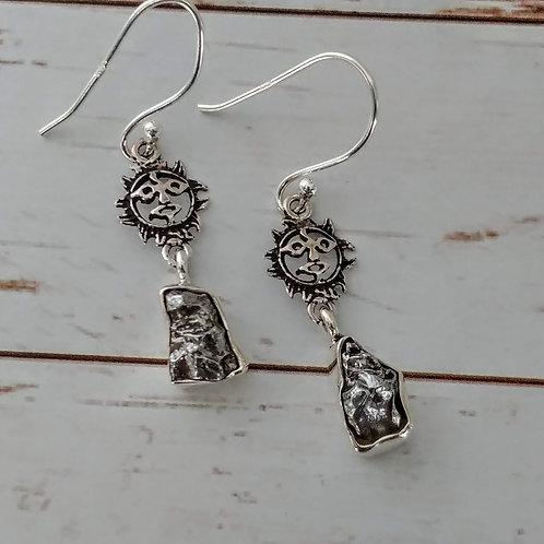 Meteorite & Sterling Sun Earrings