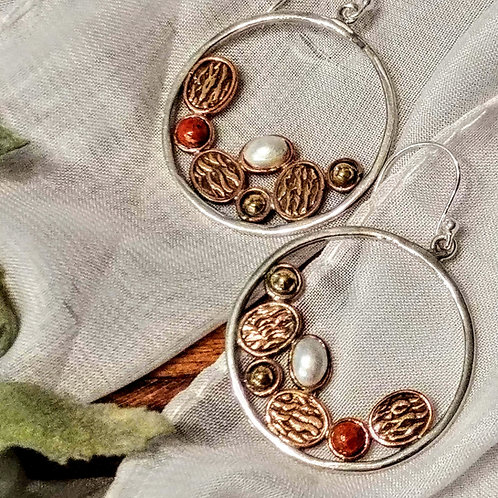 Coral 2-Tone Artisan Hoop Earrings