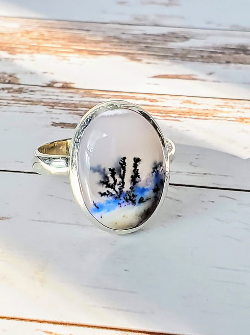 Marine Dendritic Opal Ring