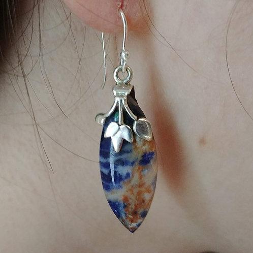Artisan Blue & Orange Sodalite Earrings