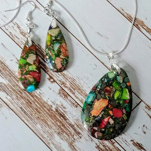 Sea Sediment Jasper Mosaic Pendent & Earring Set
