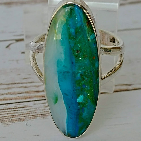 Peruvian Blue Opal Sterling Ring