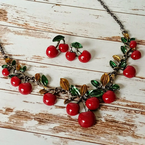 Cherry Tart Necklace & Earring Set