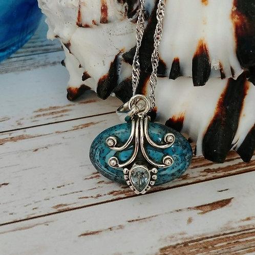 Artisan Dendritic Opal & Aquamarine Pendent