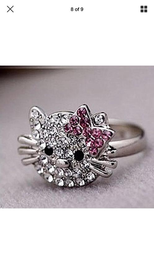 7ffc1d304 Cute Hello Kitty fashion crystal ring