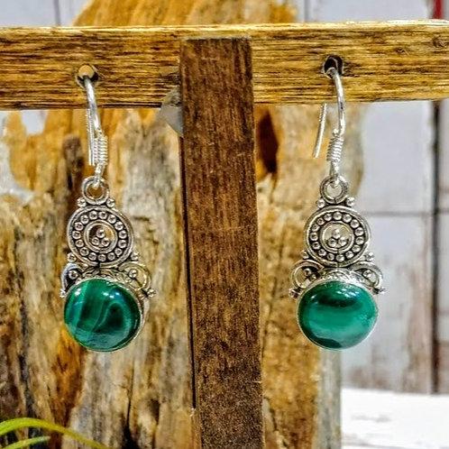 Malachite Artisan Sterling Earrings
