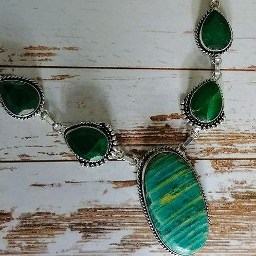 Amazonite & Emerald Necklace
