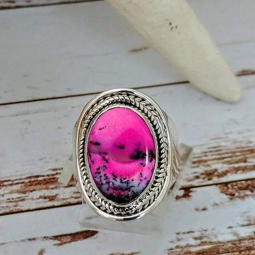 Pink Fleece Scenic Dendritic Opal Ring