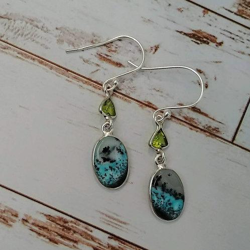 Marine Dendritic Opal & Peridot Earrings