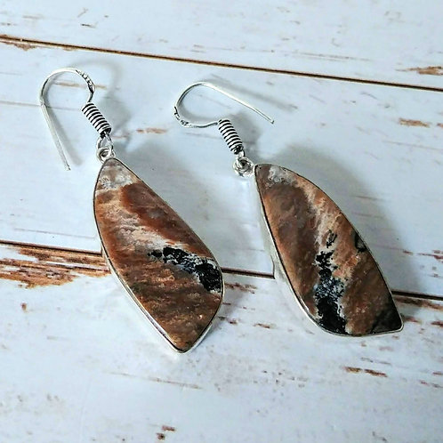 Honey Dendritic Opal Earrings